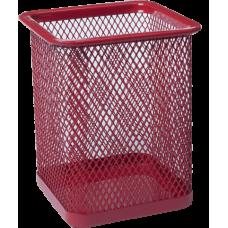 Подставка для ручек квадратная BUROMAX, металлическая, красная