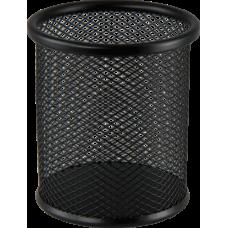 Подставка для ручек круглая BUROMAX, металлическая, черная