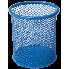 Подставка для ручек круглая BUROMAX, металлическая, синяя