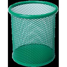 Подставка для ручек круглая BUROMAX, металлическая, зеленая