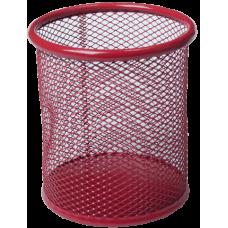 Подставка для ручек круглая BUROMAX, металлическая, красная