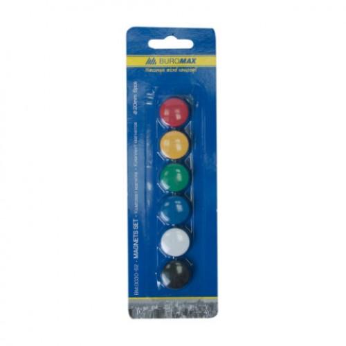 Комплект цветных магнитов 6 шт. (круглые, 20мм)