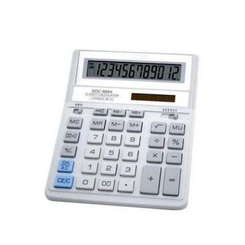 Калькулятор Citizen SDC-888 ХWH, 12 разрядов, бело-серый