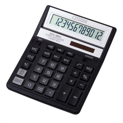 Калькулятор Citizen SDC-888 ХBK, 12 разрядов, черный