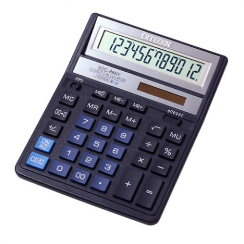 Калькулятор Citizen SDC-888 ХBL, 12 разрядов, синий