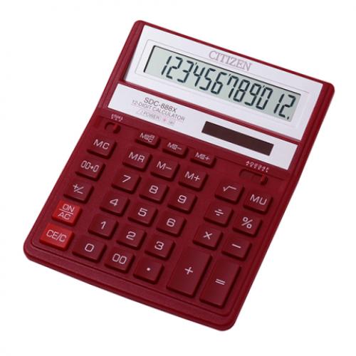 Калькулятор Citizen SDC-888 ХRD, 12 разрядов, красный