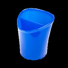 Стакан для письменных принадлежностей TETRIK, треугольный на 2 отделения, синий