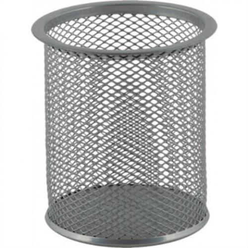 Подставка для ручек круглая BUROMAX, металлическая, серебристая
