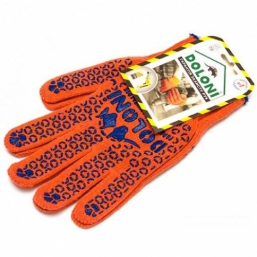 Перчатки трикотажные рабочие ДОЛОНИ, 526, оранжевые с точкой