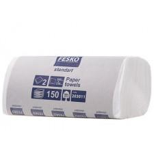 Белые бумажные полотенца V-сложения 150л. Fesko