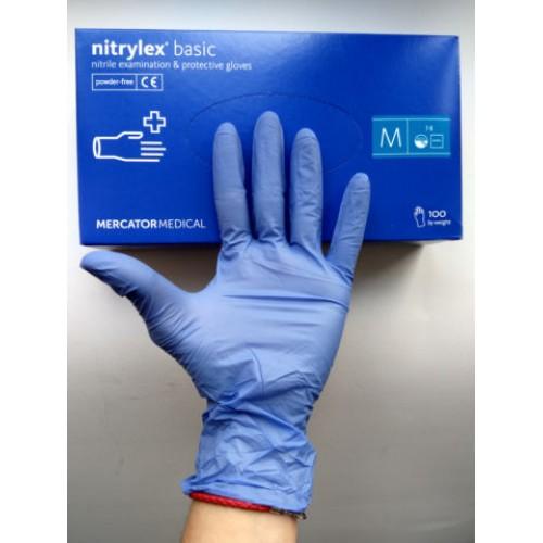 Nitrylex Basic перчатки нитриловые, нестерильные, без пудры, р.7-8 (М)