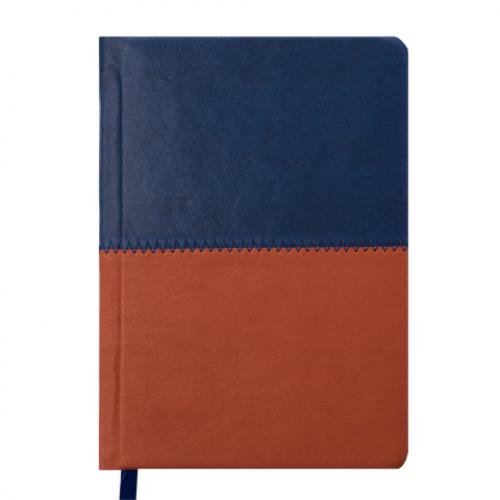 Ежедневник датированный 2019 QUATTRO, A6, 336 стр. синий + коричневый