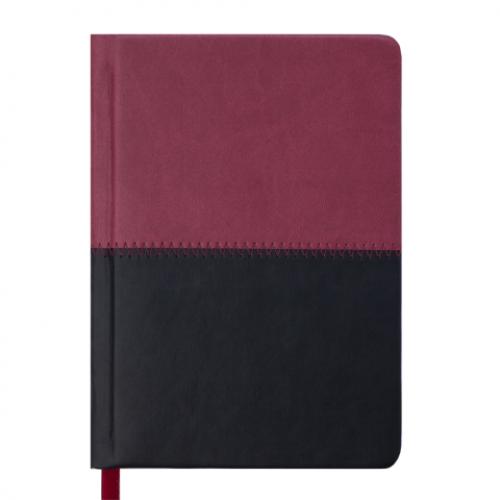 Ежедневник датированный 2019 QUATTRO, A6, 336 стр. бордовый+чорный