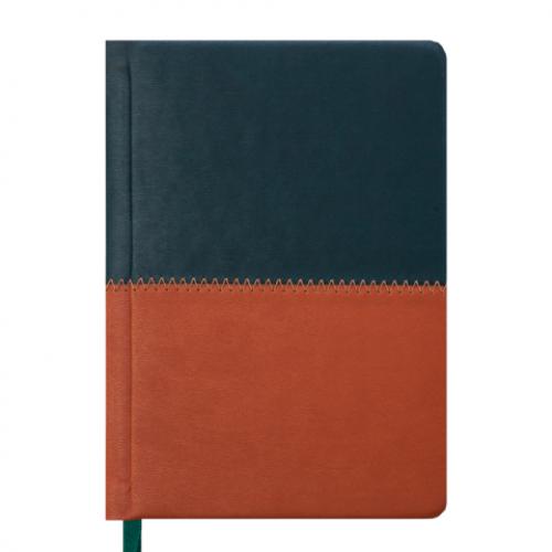 Ежедневник датированный 2019 QUATTRO, A6, 336 стр. темно-зеленый + светло-коричневый