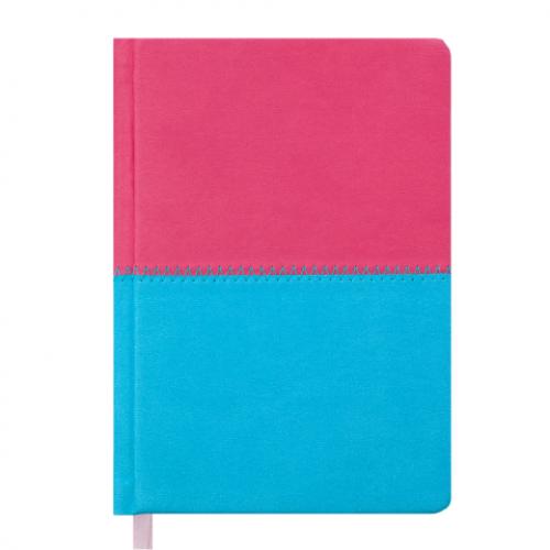 Ежедневник датированный 2019 QUATTRO, A6, 336 стр. розовый + бирюзовый