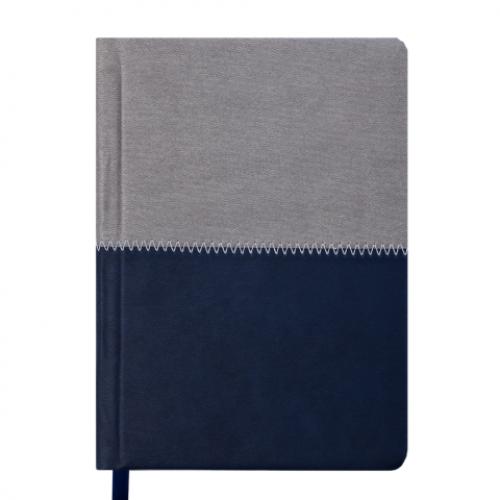 Ежедневник датированный 2019 QUATTRO, A6, 336 стр. синий + серый