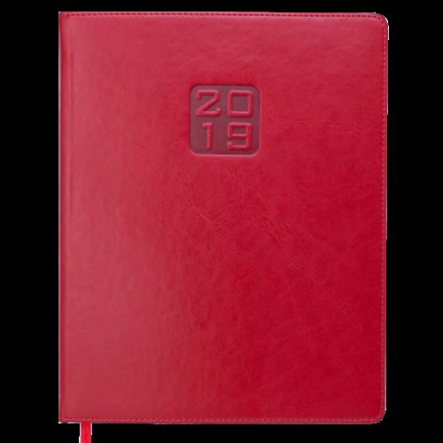 Еженедельник датированный 2019 BRAVO (Soft), A4, красный