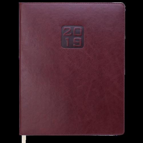 Еженедельник датированный 2019 BRAVO (Soft), A4, темно-коричневый
