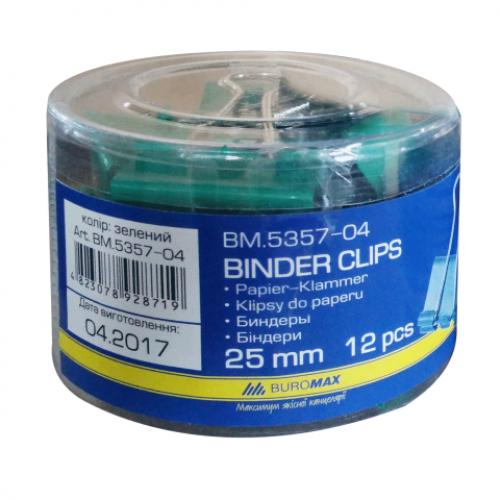 Биндер (зажим для бумаг) 25 мм, цена за 12 шт., туба, зеленый