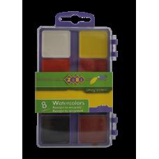 Акварельные краски 8 цветов, пластик. фиолетовый футляр