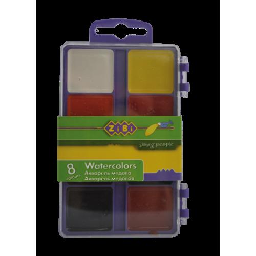 Акварельные краски 8 цветов, пластик. салатовый футляр