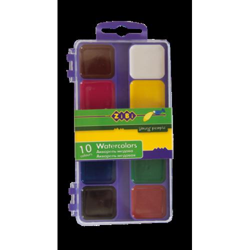 Акварельные краски 10 цветов, пластик. фиолетовый футляр