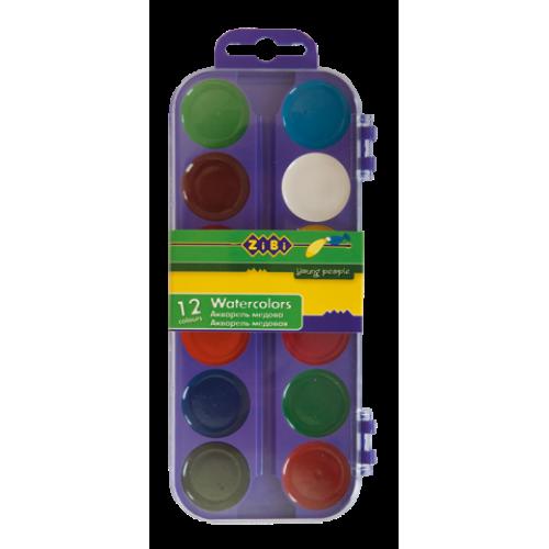 Акварельные краски 12 цветов, пластик. фиолетовый футляр