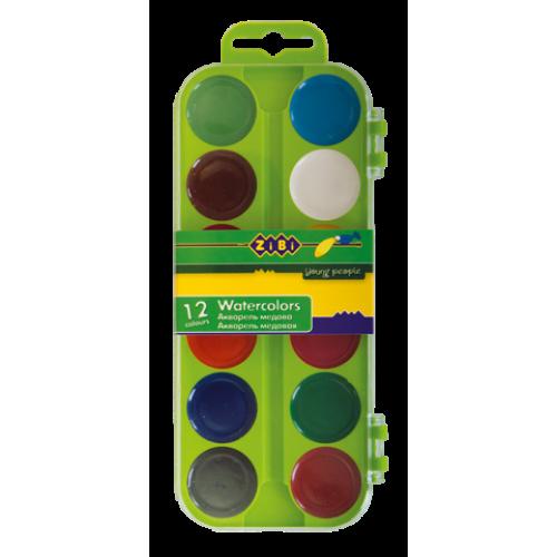Акварельные краски 12 цветов, пластик. салатовый футляр