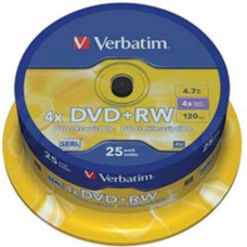 Диск DVD+RW, 4.7Gb, 4х, Cake (25), Silver
