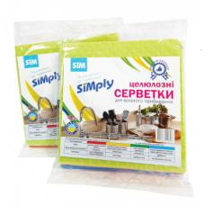 Салфетка целлюлозная для влажной уборки SIMply 4шт