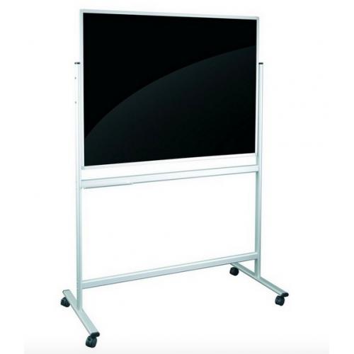 Доска двусторонняя со стеклянной поверхностью (черная / белая), магнитно усиленных магнитов, мобильная 120х90