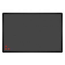 Доска текстиль серый + металлическая сетка, рамка черная 90x60