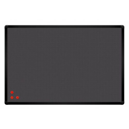 Доска текстиль серый + металлическая сетка, рамка черная 90x60ъ